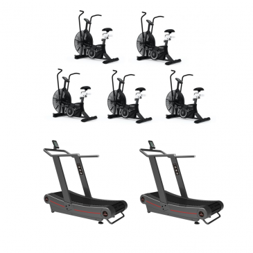 Titanium Strength Pack 5 AirBike + 2 Curved Treadmills